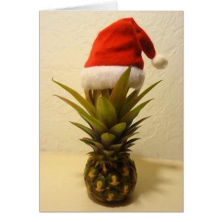 Cartão de Natal havaiano do chapéu do papai noel