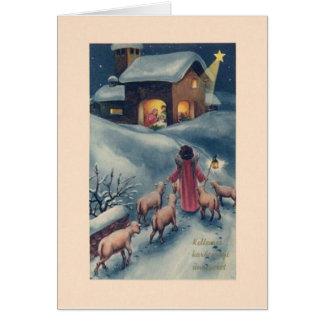Cartão de Natal húngaro da natividade do anjo do