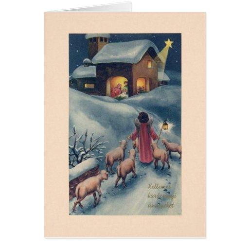 Cartão de Natal húngaro da natividade do anjo do v