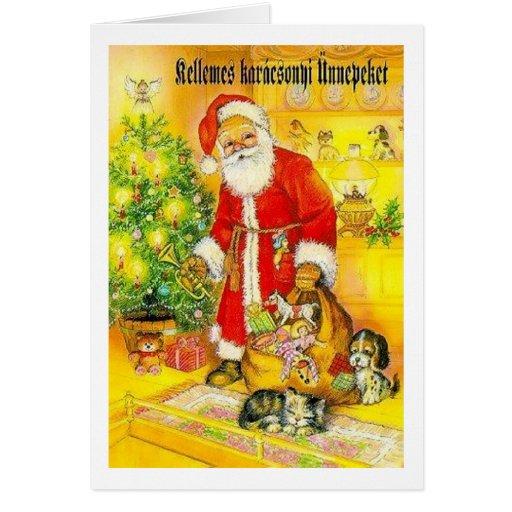 Cartão de Natal húngaro do papai noel do vintage