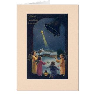 Cartão de Natal húngaro dos anjos do vintage