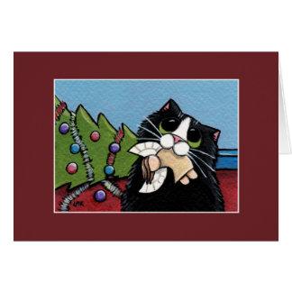 Cartão de Natal impertinente do anjo | do gato &
