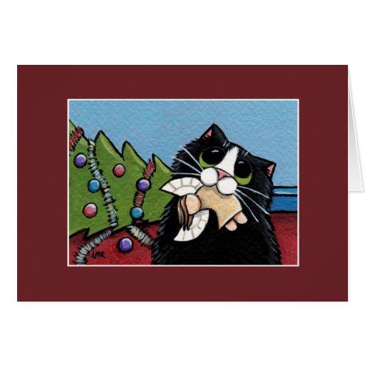 Cartão de Natal impertinente do anjo   do gato & d