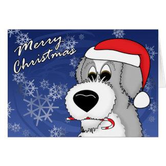 Cartão de Natal inglês velho do Sheepdog do bastão