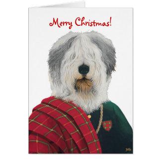 Cartão de Natal inglês velho do Sheepdog DR223