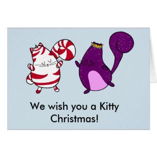 Cartão de Natal interno do gato do vazio do Natal