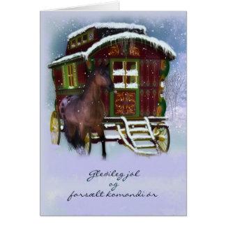 Cartão de Natal islandês - cavalo e caravana velha