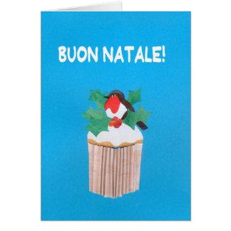 Cartão de Natal, italiano, cupcake com pisco de