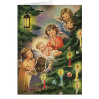 Cartão de Natal italiano de Jesus do bebê do