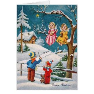 Cartão de Natal italiano dos músicos do anjo do vi