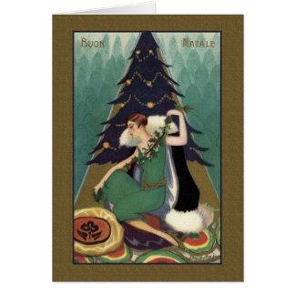 Cartão de Natal italiano retro de Buon Natale do