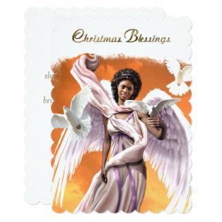 Cartão de Natal liso do anjo do Afro das bênçãos Convite 12.7 X 17.78cm