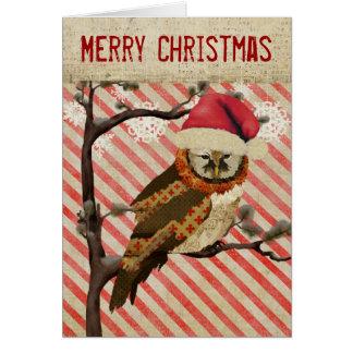 Cartão de Natal listrado da coruja das mães