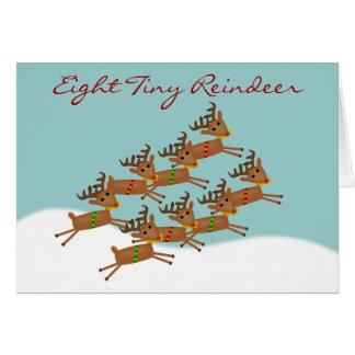 Cartão de Natal minúsculo da rena oito