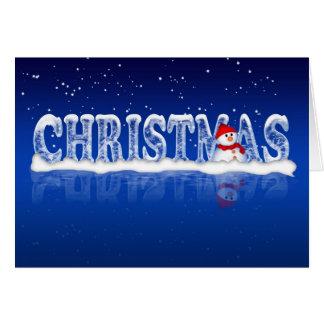 Cartão de Natal moderno com boneco de neve