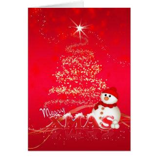 Cartão de Natal moderno com boneco de neve e