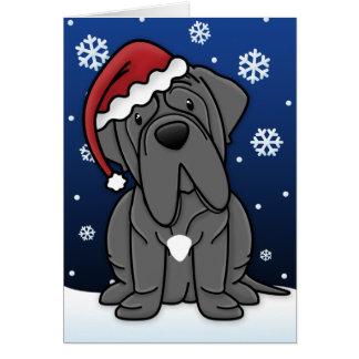 Cartão de Natal napolitana do Mastiff de Kawaii