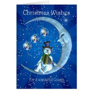 Cartão de Natal, Natal do primo, boneco de neve no