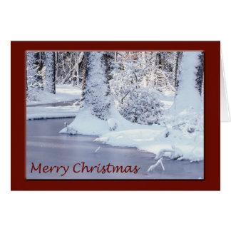 Cartão de Natal nevado da cena