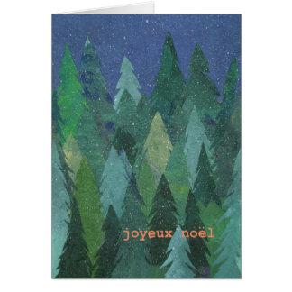 Cartão de Natal nevado da floresta: Cumprimento
