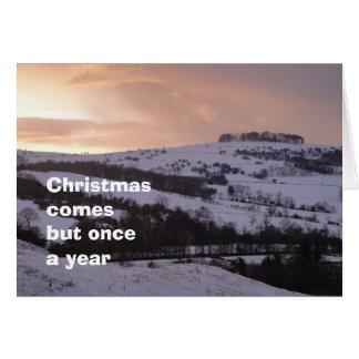 Cartão de Natal nevado da vista