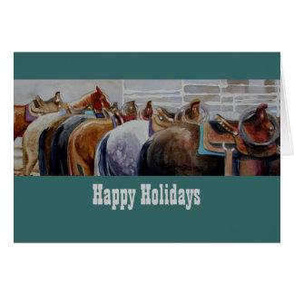 Cartão de Natal ocidental do cavalo