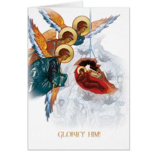 Cartão de Natal ortodoxo russo com ícone da