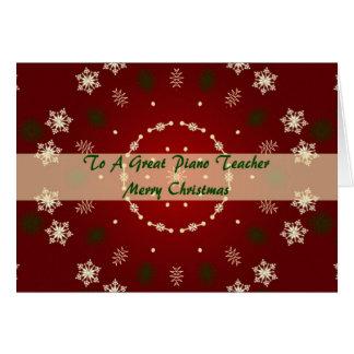 Cartão de Natal para o professor de piano