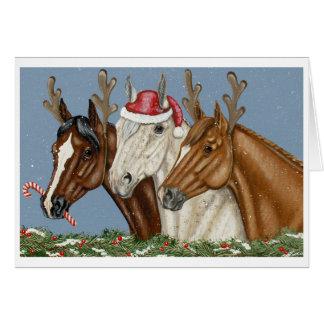 Cartão de Natal parvo do trio do cavalo