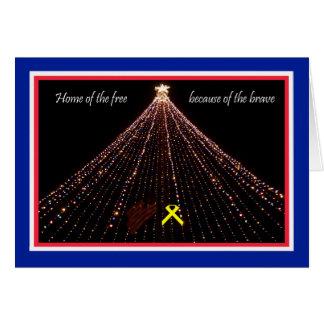 Cartão de Natal patriótico com fita amarela