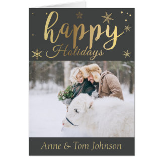 Cartão de Natal personalizado da foto do preto e