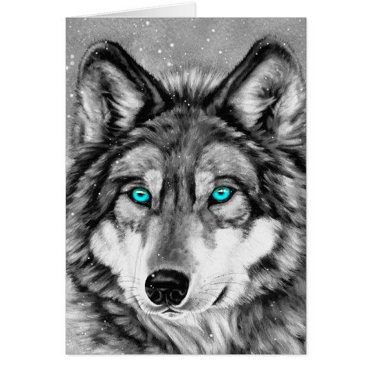 Cartão de Natal pintado do Grayscale do lobo