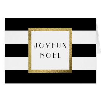 """Cartão De """"Natal preto & branco Joyeux Noël"""" da listra"""
