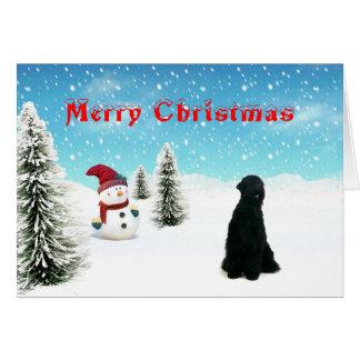 Cartão de Natal preto de Terrier do russo