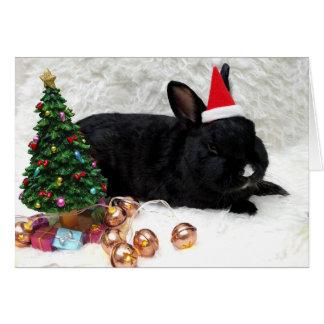 Cartão de Natal preto do coelho