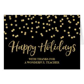 Cartão de Natal preto do professor dos confetes do