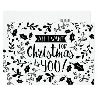 Cartão de Natal preto e branco tudo eu quero ramos
