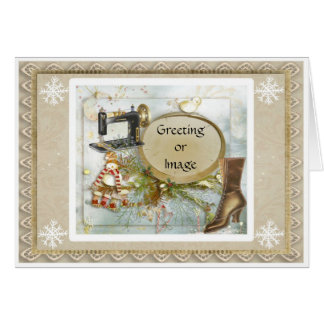 Cartão de Natal Prim do feriado da costureira do