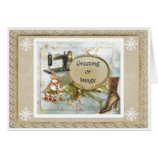 Cartão de Natal Prim do feriado da costureira do V