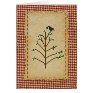 Cartão de Natal primitivo da árvore de Natal