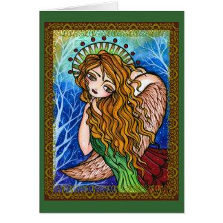 Cartão de Natal primitivo do anjo da escritura da