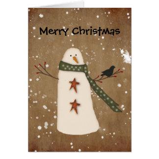 Cartão de Natal primitivo do boneco de neve