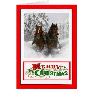 Cartão de Natal puxado a cavalo do trenó