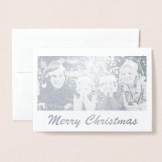 Cartão de Natal real da foto de família da folha