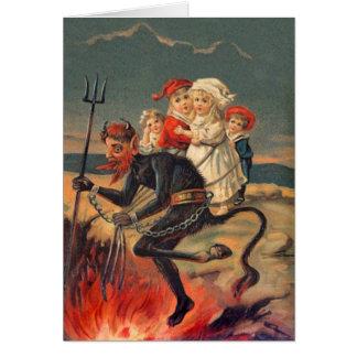 Cartão de Natal Redheaded de Krampus do vintage