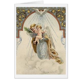 Cartão de Natal religioso alemão do vintage