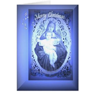Cartão de Natal religioso com notas musicais