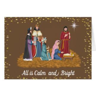 Cartão de Natal religioso da cena do comedoiro