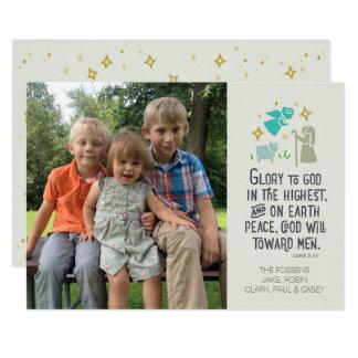 Cartão de Natal religioso da foto com verso Convite 12.7 X 17.78cm