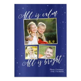 Cartão de Natal religioso da foto, ouro dos azuis